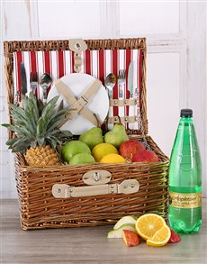 flowers: Fruit and Appletiser Picnic Basket!
