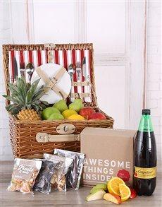 flowers: Fruit, Snack, and Grapetiser Picnic Basket!