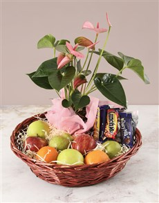flowers: Pink Anthurium and Munchies Basket!
