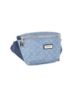 brands: Sissy Boy Printed Denim Crossbody Blue Handbag!