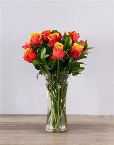 Picture of Cherry Brandy Roses in a Vase!