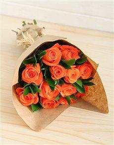flowers: Orange Roses in Craft Paper!