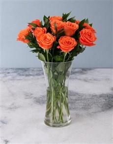 flowers: Orange Roses in a Glass Vase!