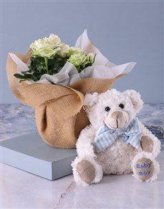 gifts: Its a Boy Teddy and White Rose Bush!