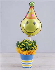 flowers: Yellow Kalanchoe Plant and Smiley Balloon Gift!