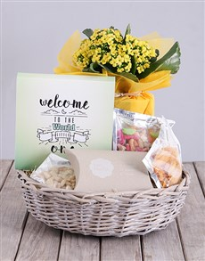 flowers: Welcome Little One Kalanchoe and Snacks Basket!