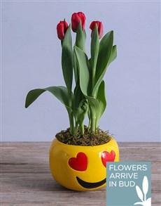 flowers: Tulip Plant in Heart Emoji Pot!
