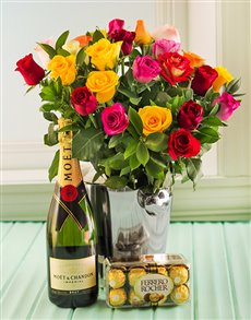 flowers: Mixed Roses, Moet, Ice bucket and Chocs !