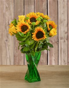 gifts: Roses & Sunflowers in a Green Twisty Vase!