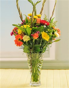 flowers: Bright Mixed Flowers in a Oasis Crystal Vase!