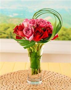 flowers: Red & Pink Roses Liriope Vase!
