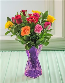 flowers: Mixed Roses in a Purple Twisted Vase!