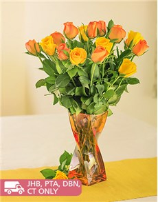 flowers: Mixed Yellow and Orange Roses in Twisty Vase!