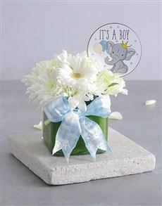 flowers: Baby Boy Square Vase!
