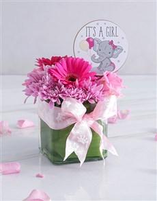 flowers: Baby Girl Square Vase!