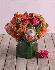 flowers: Orange Mixed Protea Arrangement!
