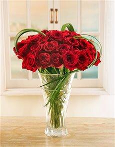 flowers: Red Ethiopian Roses in Crystal Vase!