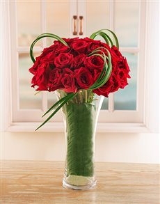 flowers: Red Ethiopian Roses with Leriope in Glass Vase!