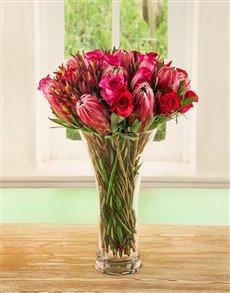 flowers: Red Rose & Protea Medley Vase!