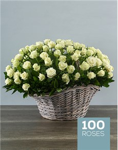 flowers: 100 White Roses in a Basket!