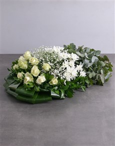 flowers: Green and White Funeral Coffin Display!
