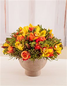 flowers: Blazing Bright Bowl of Mixed Flowers!