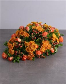 flowers: Orange Sprays and Roses Funeral Coffin Display!