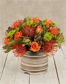 flowers: Pincushion Proteas & Mixed Flowers in Round Pot!