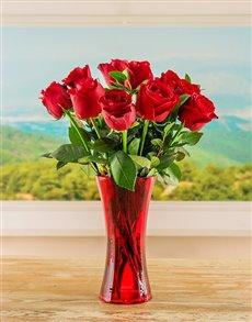 flowers: Red Ethiopian Roses in Red Vase!
