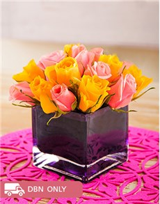 flowers: Pink and Yellow roses in a Purple Square Vase!