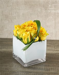 flowers: Yellow Roses in a White Square Vase!