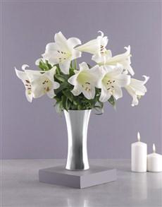 flowers: St Joseph Lilies in Silver Vase!