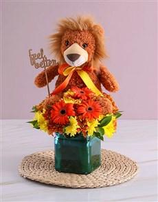 flowers: Orange Gerbera and Sprays in Blue Square Vase!