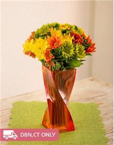 flowers: Mixed Sprays in a Orange Twisty Vase!
