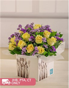 flowers: Cream Roses and Purple Filler in Box!