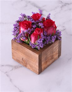 gifts: Cerise Roses in Wooden Box!