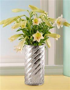 flowers: St Joseph Lilies in a Silver Twirl Vase!