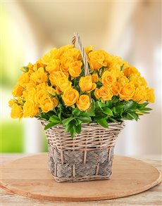 flowers: 30 Yellow Kenyan Cluster Roses in a Basket!