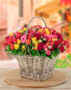 flowers: Mixed Kenyan Cluster Roses Stems in a Basket!
