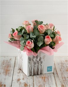 gifts: Pink Roses in Fountain Box!