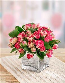 flowers: Pink Kenyan Cluster Roses in a Silver Vase!