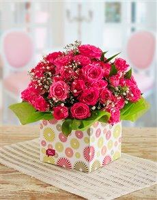 flowers: Pink Kenyan Cluster Roses in Circle Box!