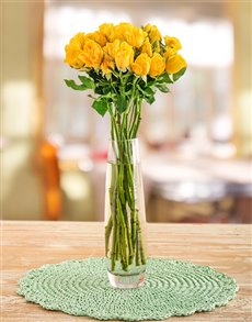 gifts: Yellow Kenyan Cluster Roses in a Vase!