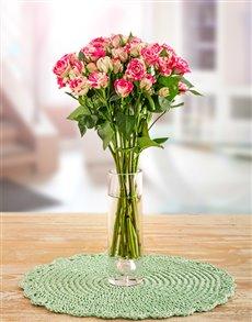 flowers: Pink & White Kenyan Cluster Roses in a V!
