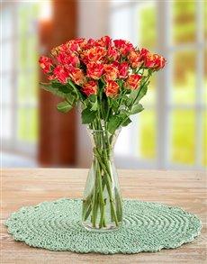 flowers: Orange Kenyan Cluster Roses in a Vase!
