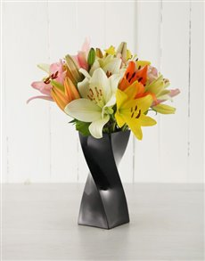 flowers: Mixed Lilies in a Black Curved Vase!