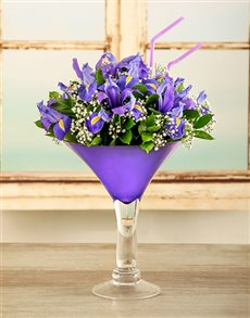 flowers: Iris Martini Cocktail Arrangement!