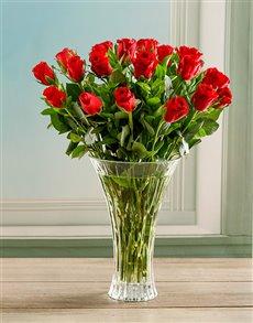 flowers: Red Romance Rose Crystal Vase!