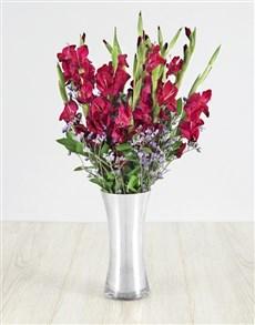 flowers: Purple Gladiolus and Latifolia in Silver Flair Vas!