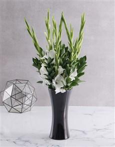 flowers: Black and white Gladiolus vase!